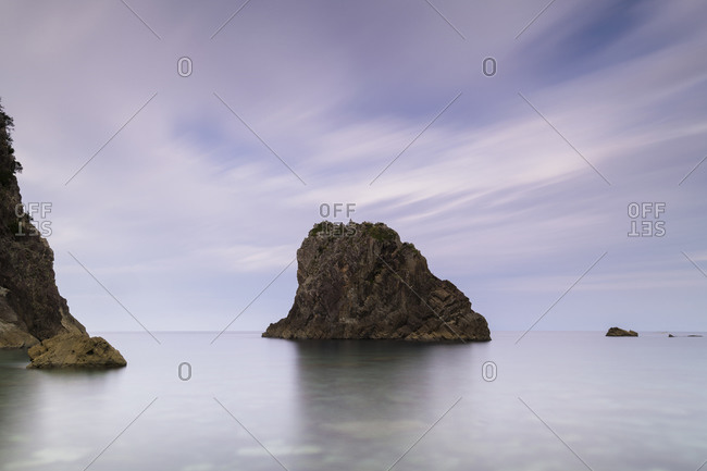 Long exposure shot of sea stack by the beach in Izu Peninsula, Shizuoka Prefecture, Japan