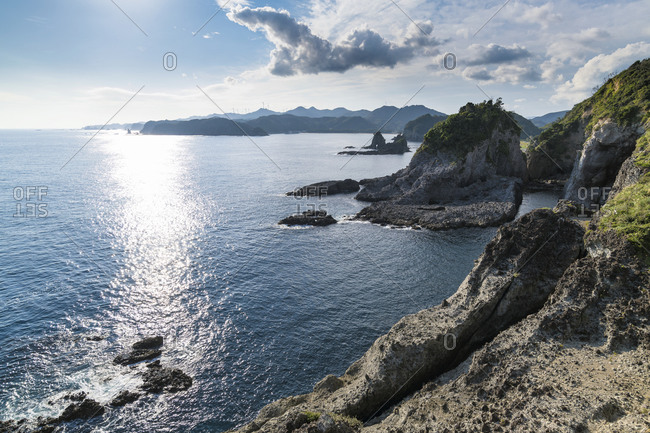 Sea stacks and coastline in Izu Peninsula, Shizuoka Prefecture, Japan