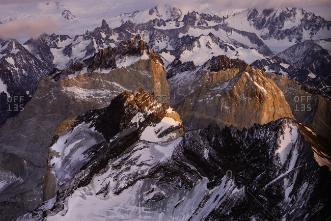 Aerial photo at sunrise over Torres del alpine national park, Patagonia Chile.