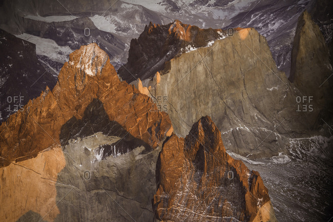 Aerial photo of  the dramatic granite peaks in Torres Del Paine National Park Chile.