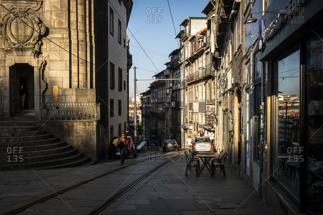 Porto, Portugal - August 29, 2020: Rua da Assuncao street scene in the evening