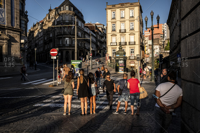 Porto, Portugal - August 29, 2020: Praca de Almeida street scene in the evening