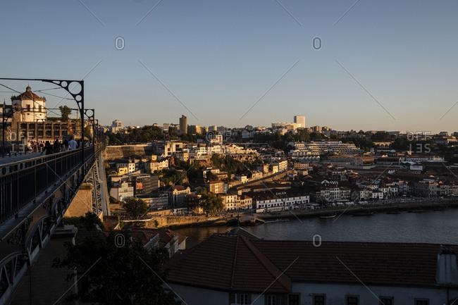 Porto, Portugal - August 29, 2020: Dom Luis bridge and Vila Nova de Gaia cityscape