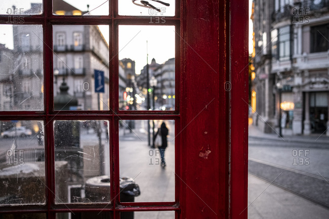 Porto, Portugal seen from a red telephone booth