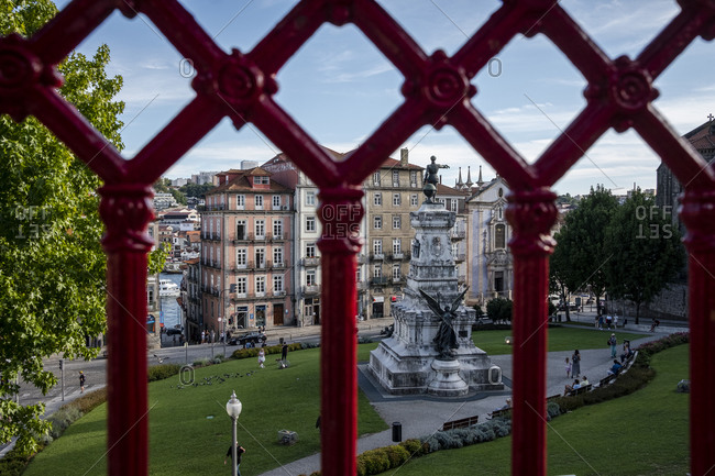 Porto, Portugal - August 31, 2020: View overlooking statue in Pracae do Infante Dom Henrique