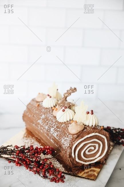 Chocolate holiday yule log dessert on marble surface with copy space
