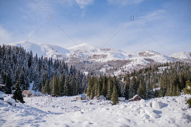 Snowy landscape with homes and forest in the Bjelasnica mountains in Bosnia and Herzegovina