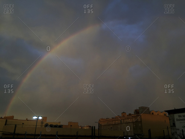 Rainbow over Bushwick, Brooklyn in the summer