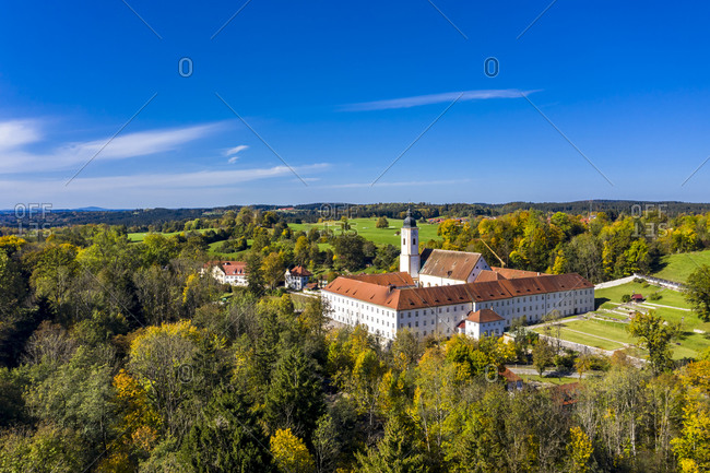 Germany- Bavaria- Dietramszell- Helicopter view of Dietramszell Monastery on sunny day
