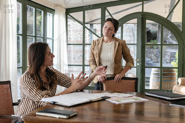 Creative female event planner discussing with colleague in meeting at home