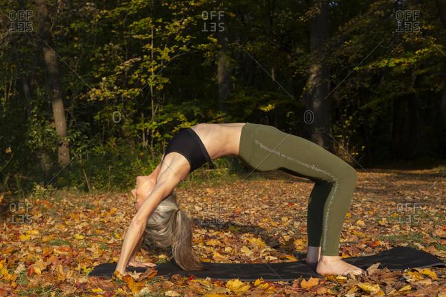 Flexible woman exercising bridge pose at park during autumn