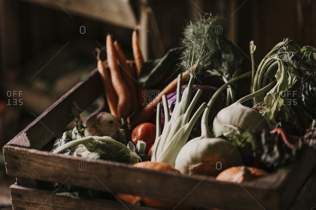 Close-up of fresh and organic vegetables in box