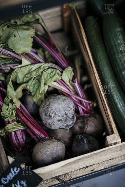 Beetroots and cucumber in retail display box