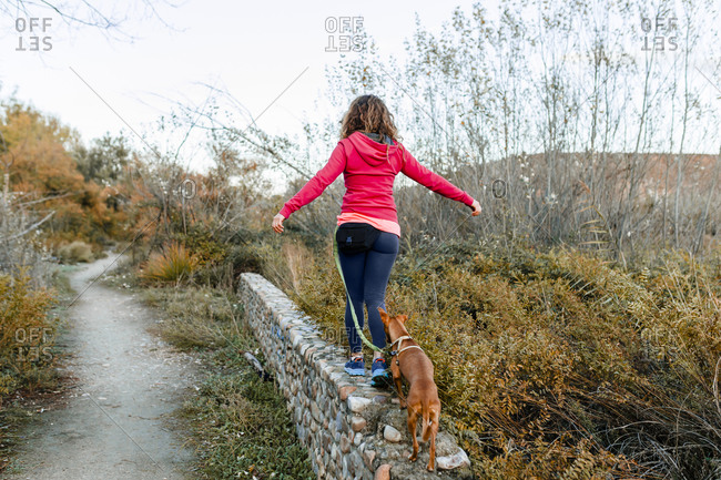Mid adult woman with her dog walking on retaining wall at country side