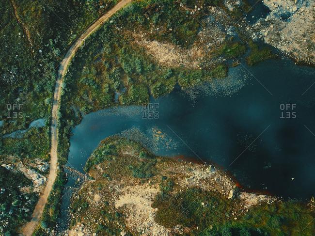 Aerial view of part of Loch Cluanie water reservoir near Inverness, Highlands, Scotland.
