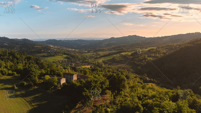 Aerial view of a idyllic Colli Piacentini rural landscape in Summer at dawn near Rossoreggio, Emilia-Romagna, Italy.