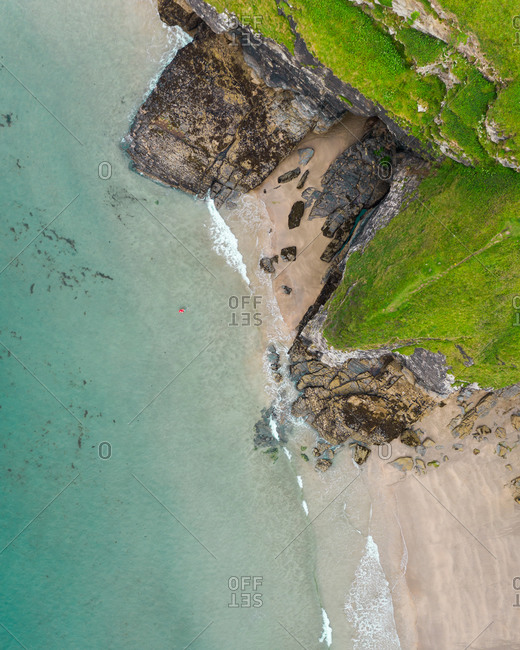 Aerial view of Bossiney Cove, top down shot, Tintagel, Cornwall, United Kingdom