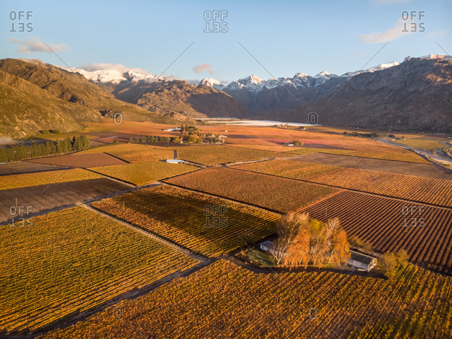 Aerial view of snow-capped mountain in the Hemel-en-Aarde Valley winter grape farming Western Cape, South Africa