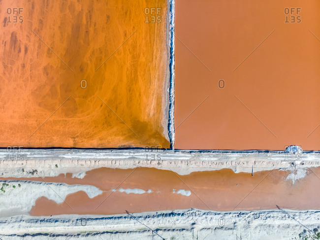 Aerial view of Velddrift salt pan orange abstract, Western Cape, South Africa