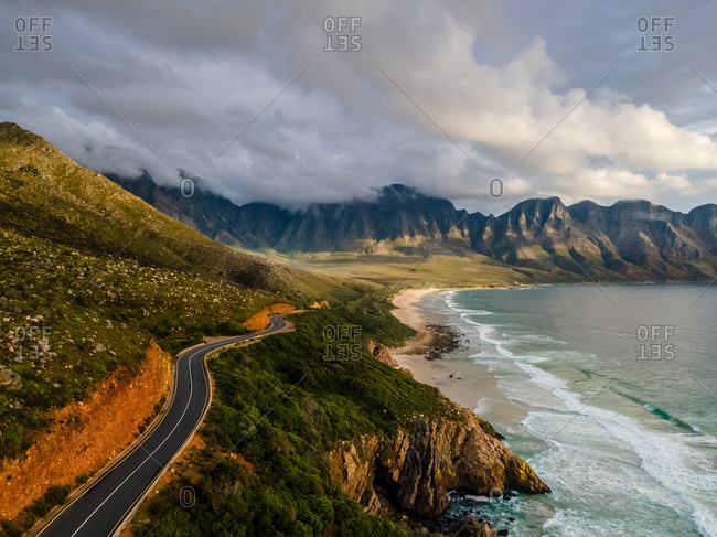 Aerial view of scenic coastal drive Clarens Drive and Kogel Bay beach, between Gordon's Bay and Rooi Els, after rain storm, Cape Town, South Africa