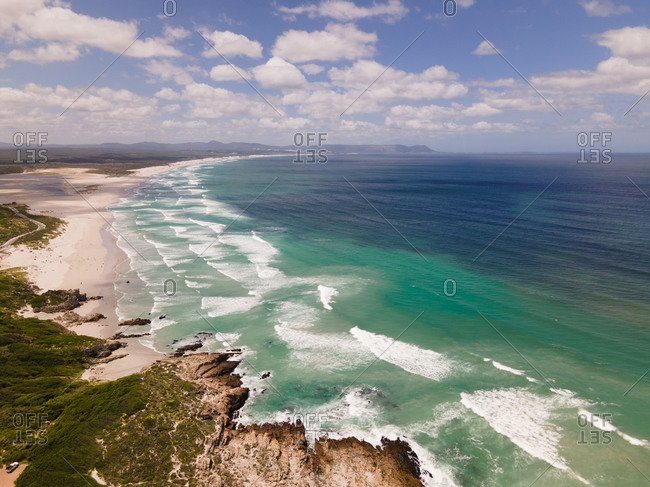Aerial view of Hermanus with Blue Flag Grotto Beach and Walker Bay, South Africa