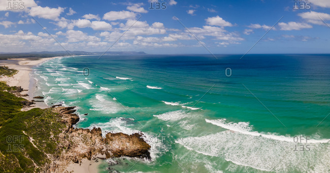 Panoramic aerial view of Hermanus with Blue Flag Grotto Beach and Walker Bay, South Africa