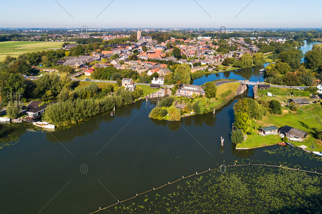 Aerial view of the city of Asperen and the river Linge, West Betuwe, Gelderland, Netherlands