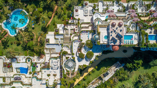 October 4, 2018: Aerial view of Hotel Gray d'Albion, Marbella, Spain