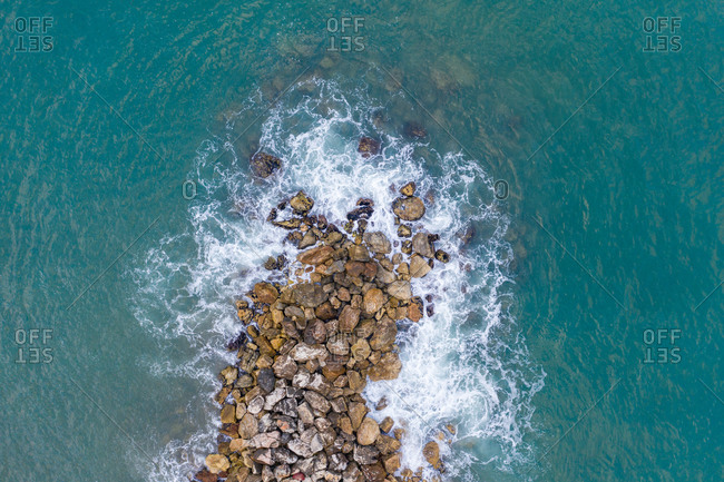 Aerial view of pier in playa de cabopino, Marbella, Spain