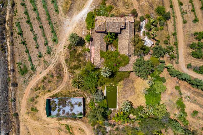 Aerial view of old tennis court, Mijas, Malaga, Spain