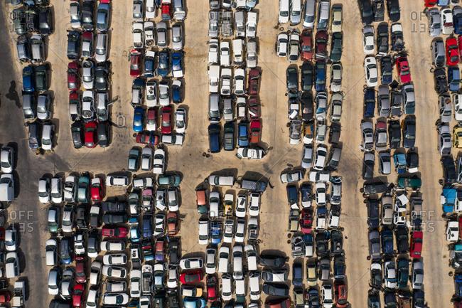 Aerial view of car graveyard, Coin, Malaga, Spain