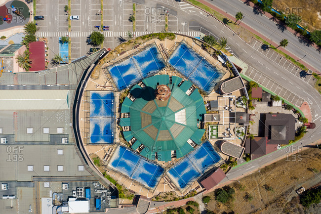 aerial view of paddle court on top of building, Coin, Malaga, Spain