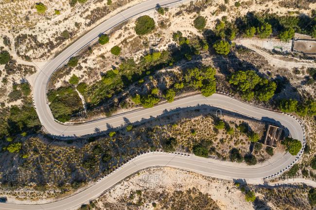 Aerial view of windy road, Jijona, Alicante, Spain