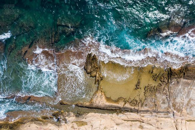 Aerial view of cala de la palmera in cape de l'horta, Alicante, Spain