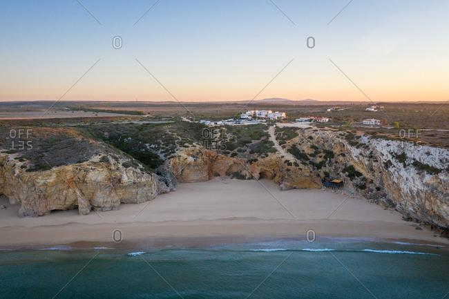 Aerial view of praia do beliche, Sagres, Portugal