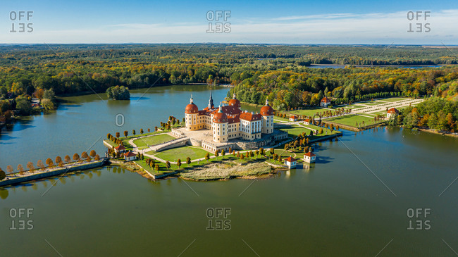 Panoramic view of Castle Moritzburg in autumn, Dresden, Germany.