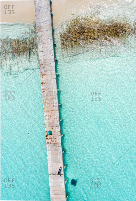 Aerial view of a jetty with children watching a black stingray, Vashafaru, Haa Alif Atoll, Maldives.