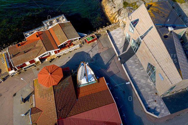 July 17, 2020: Aerial view of harbor area with Fishing museum and restaurant, Gothenburg Archipelago, Sweden.