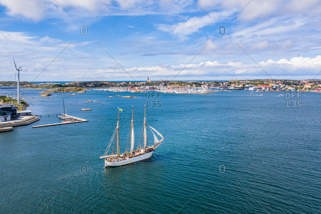 July 25, 2020: Kattegat, Gothenburg Archipelago, Sweden: Aerial view of a sailing boat cruising.