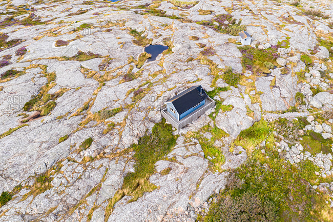 aerial view of a single house built on rocks, Gothenburg archipelago, Sweden, Scandinavia