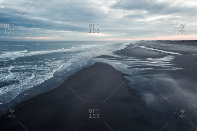 Aerial view of a wide stretched beach on the island Terschelling, Friesland, The Netherlands.