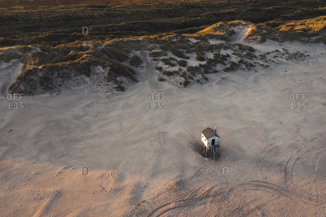 Aerial view of a little shed on the beach of the island Terschelling, Friesland, The Netherlands.