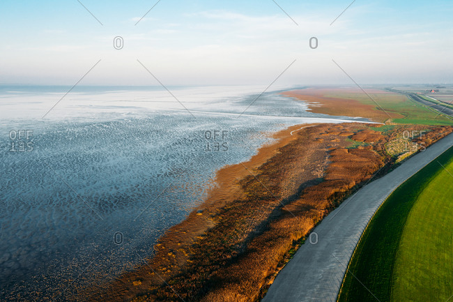 Aerial view of a nature reserve next to the Wadden Sea in, Friesland, The Netherlands.