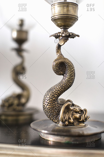 Brass serpent lamp close up
