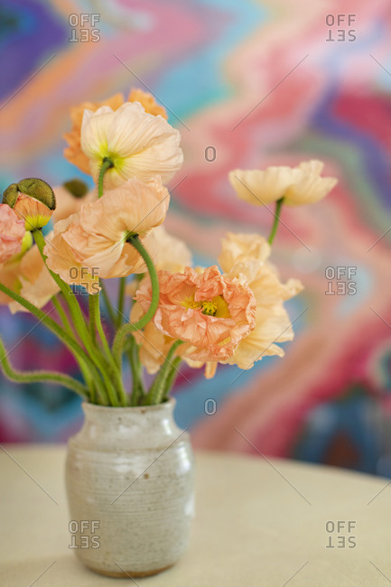 Pastel flowers in front of colorful background