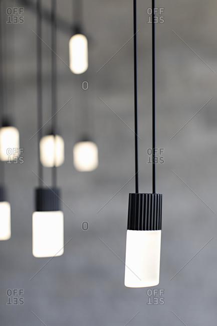 Illuminated modern black hanging lights