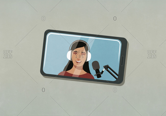 Woman with headphones and microphone vlogging on smart phone