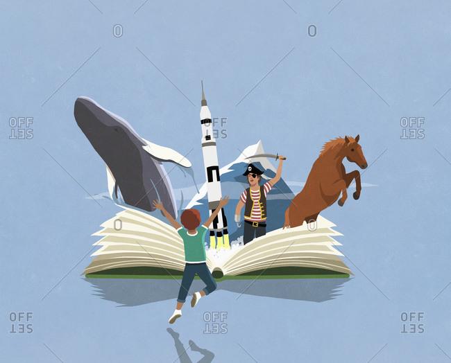 Imaginative boy and girl reading adventure book