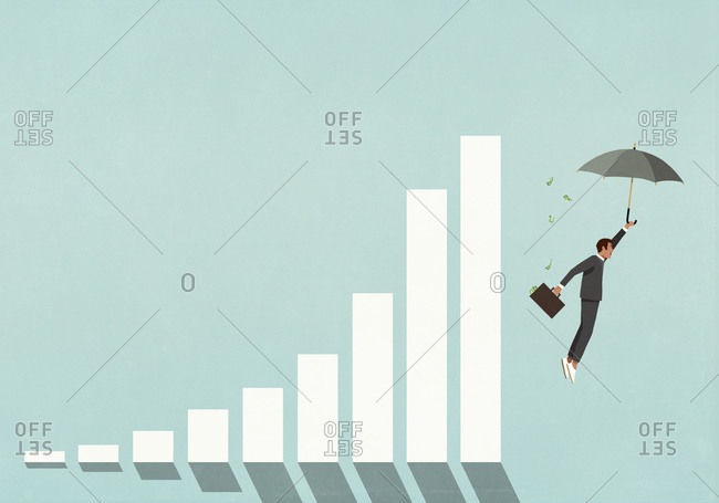 Male investor with money briefcase and umbrella falling from graph