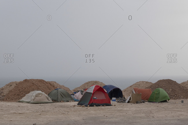 Tents on ocean beach, Taghazout, Morocco